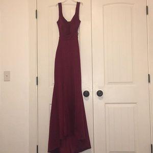 Burgundy prom dress.